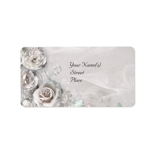 Elegant White Flowers Label