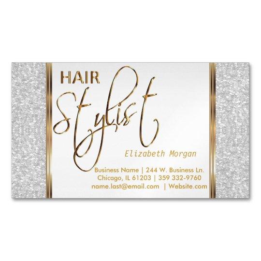 Elegant White Glitter and Gold - Hair Stylist