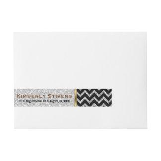 Elegant White Glitter Black Chevron Gold Accents Wraparound Address Label
