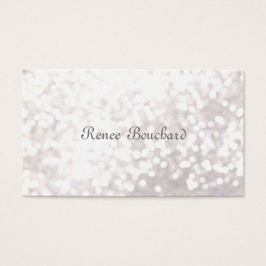 Elegant White Glitter Bokeh Event Planner Business Card