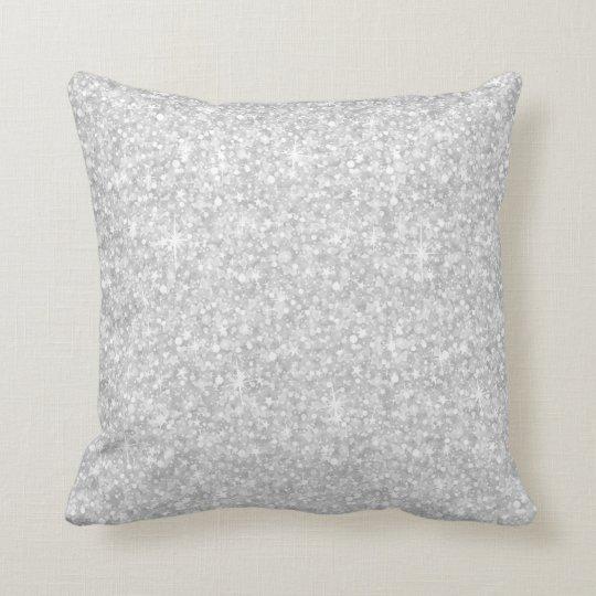 Elegant White Glitter & Sparkles Cushion