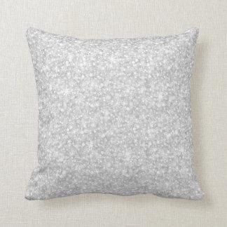 Elegant White Glitter & Sparkles Throw Pillow