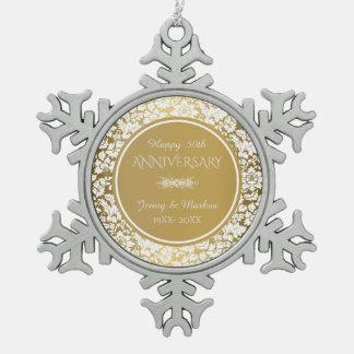 Elegant White & Gold 50th Wedding Anniversary Snowflake Pewter Christmas Ornament