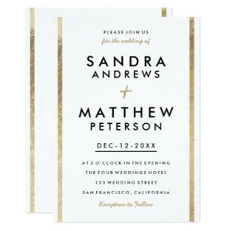 Elegant white gold chic faux foil stripes wedding card