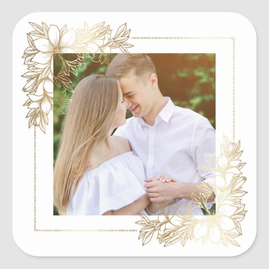 Elegant White & Gold Floral Photo Square Sticker