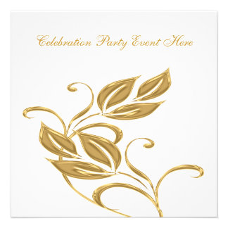 Elegant White Gold Glass Floral All Events Personalized Announcement