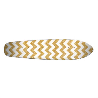 Elegant White Gold Glitter Zigzag Chevron Pattern 20.6 Cm Skateboard Deck