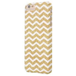 Elegant White Gold Glitter Zigzag Chevron Pattern Barely There iPhone 6 Plus Case