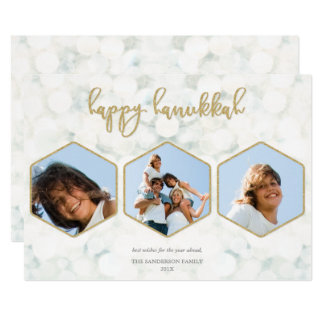 Elegant White+Gold Happy Hanukkah Triple Photo Card