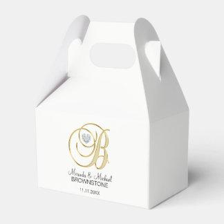 Elegant White Gold Heart Monogram B Wedding Gift Favour Box