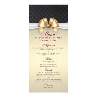 Elegant White Gold Ribbon Red Diamond Wedding Menu Customized Rack Card