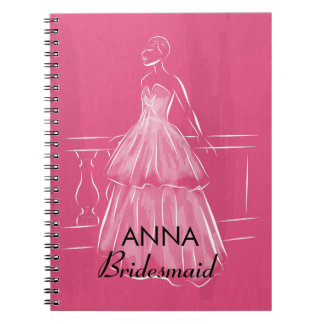 Elegant White Gown Bridal Shower Favor Notebook