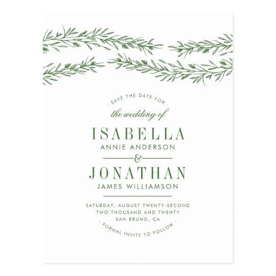 Elegant White & Green Botanical Save The Date
