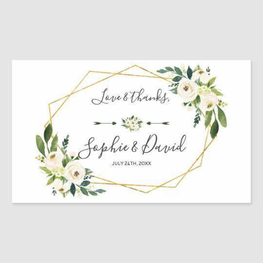 Elegant White Green Floral Gold Frame Wedding Rectangular Sticker