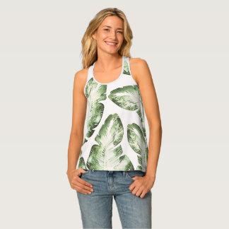 Elegant White Green Tropical Leaves Pattern Print Tank Top