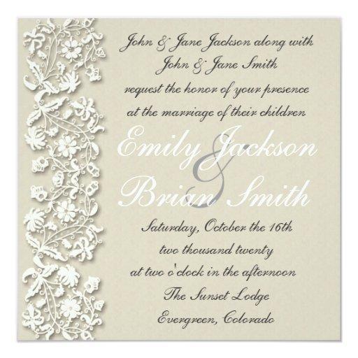 elegant white grey lace formal wedding invitations zazzle With white lace wedding invitations uk