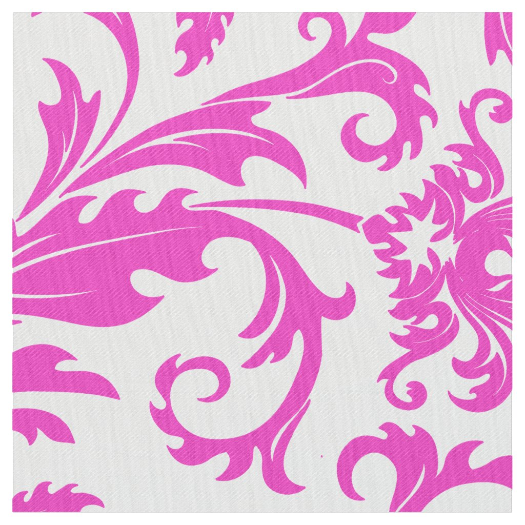 Elegant White & Hot Pink Floral Damasks