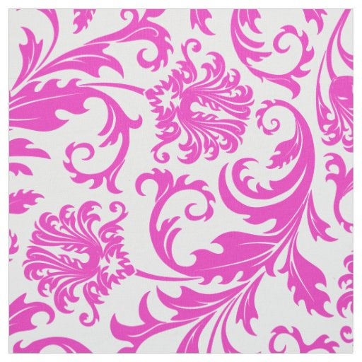 Elegant White & Hot Pink Floral Damasks Fabric