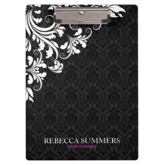 Elegant White Lace Black Damasks Clipboard