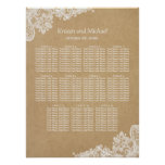 Elegant White Lace Kraft Wedding Seating Chart
