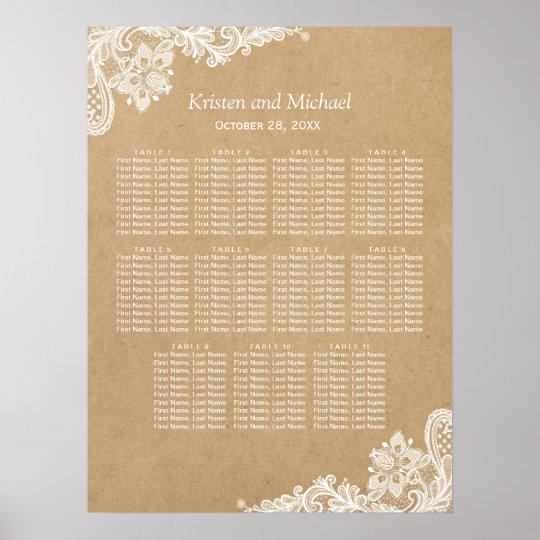 Elegant White Lace Kraft Wedding Seating Chart Poster