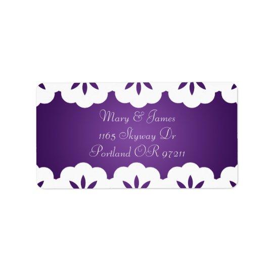 Elegant White Lace Wedding Address Purple Address Label
