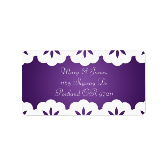 Elegant White Lace Wedding Address Purple Label