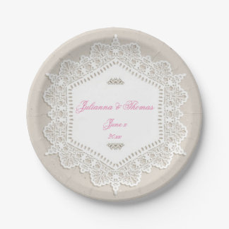 Elegant, White Lace, Wedding, Custom 7 Inch Paper Plate