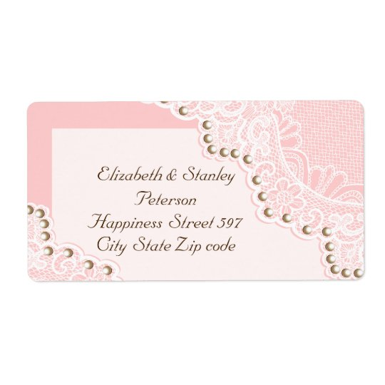 Elegant white lace with pearls pink wedding label