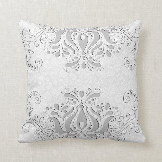 Elegant White & Light Grey Vintage Damasks &