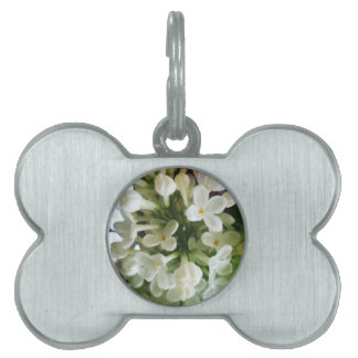 Elegant white lilac blossom photo pet ID tag