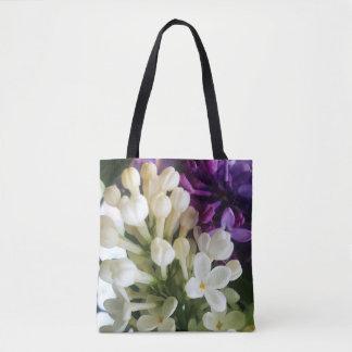 Elegant white lilac blossom photo tote bag