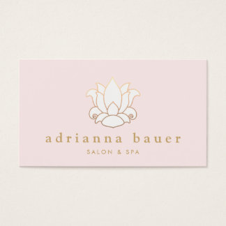 Elegant White Lotus Flower Pink Salon and Spa Business Card