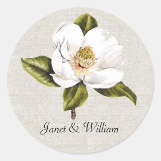 Elegant White Magnolia Wedding Envelope Seal Round Sticker