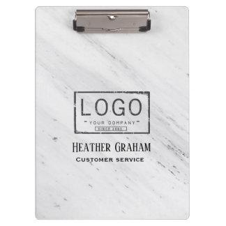 Elegant white marble custom logo clipboard
