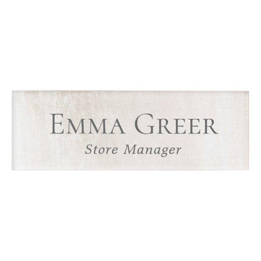 Elegant White Marble Employee Staff  Name Tag