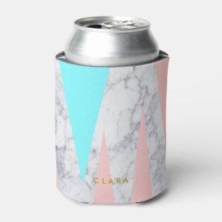 elegant white marble geometric triangles pink mint