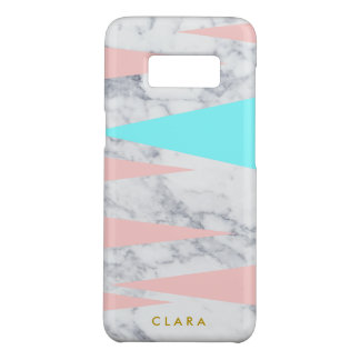 elegant white marble geometric triangles pink mint Case-Mate samsung galaxy s8 case