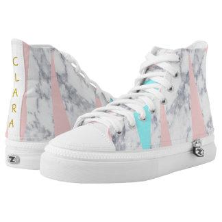 elegant white marble geometric triangles pink mint high tops
