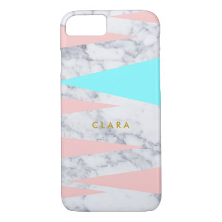 elegant white marble geometric triangles pink mint iPhone 8/7 case