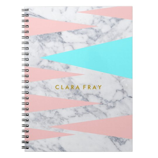 elegant white marble geometric triangles pink mint notebooks