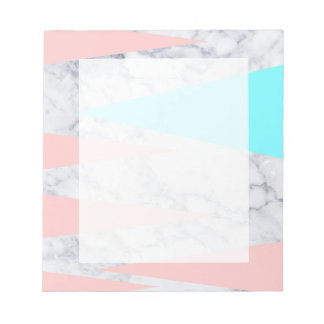 elegant white marble geometric triangles pink mint notepad