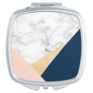 elegant white marble gold peach blue color block compact mirrors