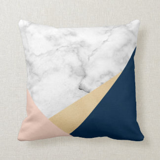 elegant white marble gold peach blue color block cushion