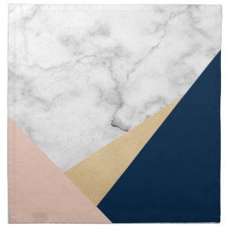 elegant white marble gold peach blue color block napkin