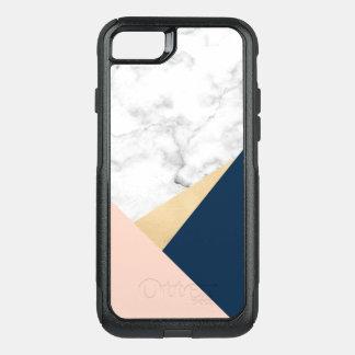 elegant white marble gold peach blue color block OtterBox commuter iPhone 8/7 case