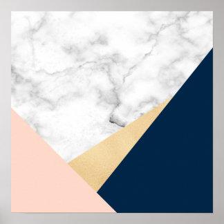 elegant white marble gold peach blue color block poster