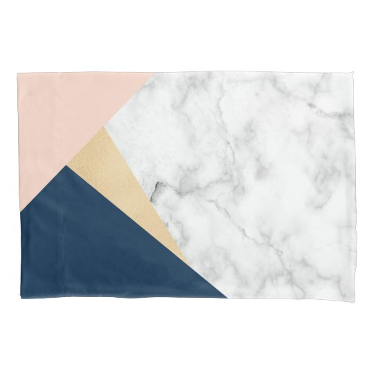 elegant white marble gold peach blue colour block