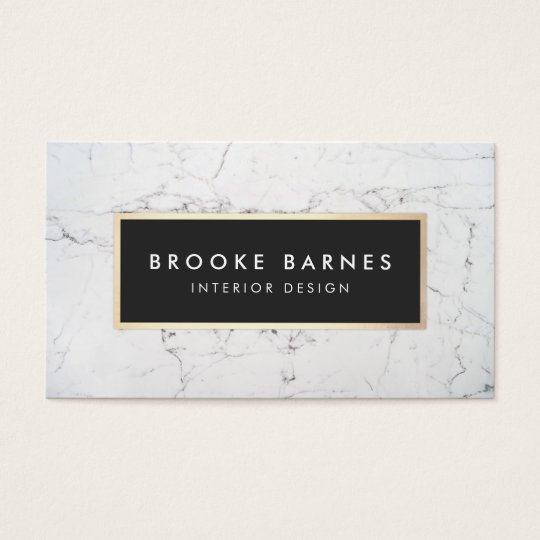 Elegant White Marble Interior Designer Business Card