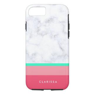 elegant white marble pastel pink melon mint iPhone 8/7 case
